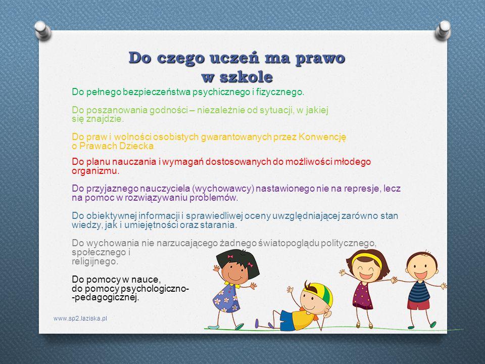 www.sp2.laziska.pl Do czego uczeń ma prawo w szkole Do pełnego bezpieczeństwa psychicznego i fizycznego. Do poszanowania godności – niezależnie od syt