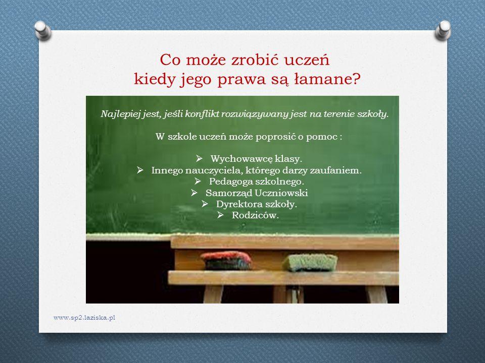 www.sp2.laziska.pl Co może zrobić uczeń kiedy jego prawa są łamane? Najlepiej jest, jeśli konflikt rozwiązywany jest na terenie szkoły. W szkole uczeń