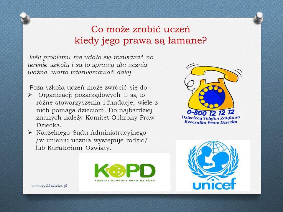 www.sp2.laziska.pl Jeśli problemu nie udało się rozwiązać na terenie szkoły i są to sprawy dla ucznia ważne, warto interweniować dalej. Poza szkołą uc