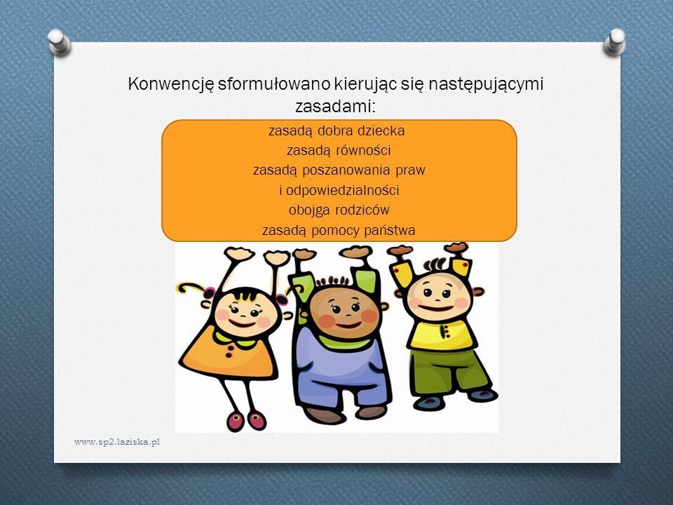 Konwencję sformułowano kierując się następującymi zasadami: www.sp2.laziska.pl zasadą dobra dziecka zasadą równości zasadą poszanowania praw i odpowie