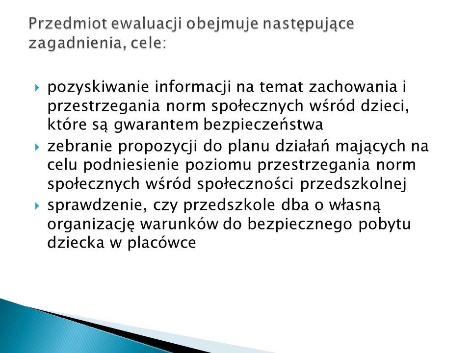  pozyskiwanie informacji na temat zachowania i przestrzegania norm społecznych wśród dzieci, które są gwarantem bezpieczeństwa  zebranie propozycji