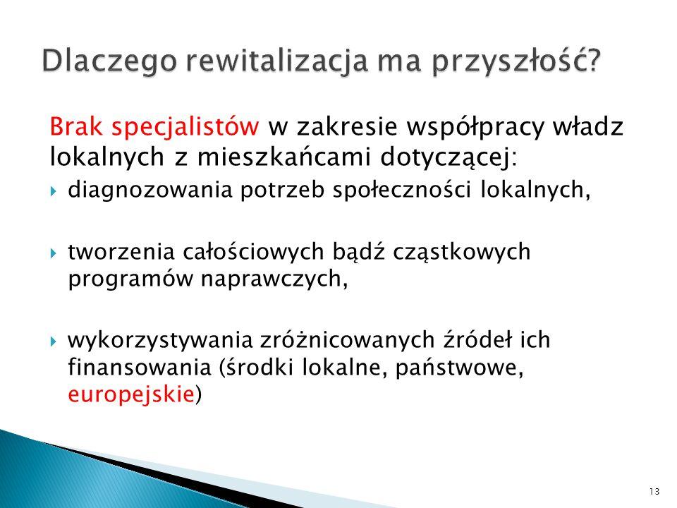 Brak specjalistów w zakresie współpracy władz lokalnych z mieszkańcami dotyczącej:  diagnozowania potrzeb społeczności lokalnych,  tworzenia całościowych bądź cząstkowych programów naprawczych,  wykorzystywania zróżnicowanych źródeł ich finansowania (środki lokalne, państwowe, europejskie) 13