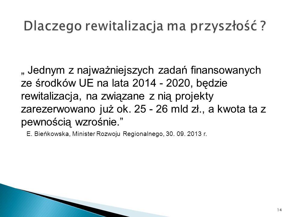 """"""" Jednym z najważniejszych zadań finansowanych ze środków UE na lata 2014 - 2020, będzie rewitalizacja, na związane z nią projekty zarezerwowano już ok."""
