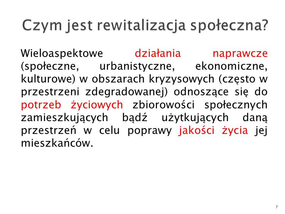 Wieloaspektowe działania naprawcze (społeczne, urbanistyczne, ekonomiczne, kulturowe) w obszarach kryzysowych (często w przestrzeni zdegradowanej) odn