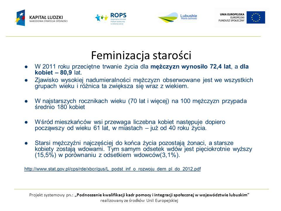 """Feminizacja starości Projekt systemowy pn.: """"Podnoszenie kwalifikacji kadr pomocy i integracji społecznej w województwie lubuskim"""" realizowany ze środ"""