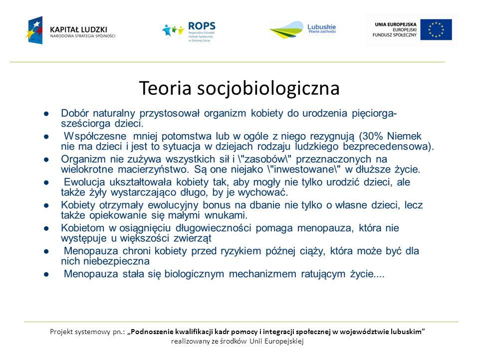 """Teoria socjobiologiczna Projekt systemowy pn.: """"Podnoszenie kwalifikacji kadr pomocy i integracji społecznej w województwie lubuskim"""" realizowany ze ś"""