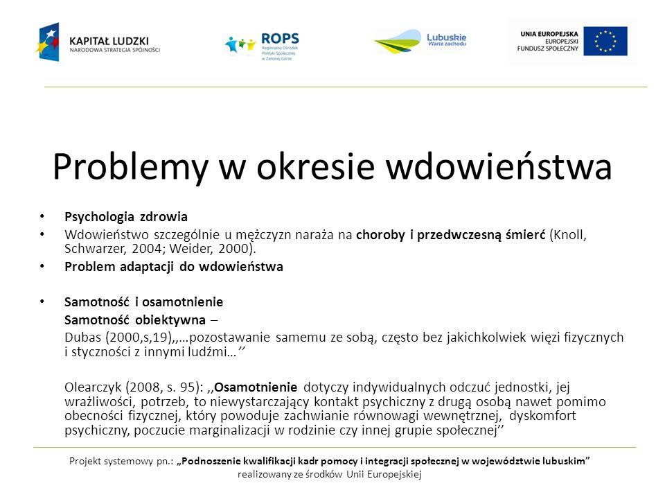 """Problemy w okresie wdowieństwa Projekt systemowy pn.: """"Podnoszenie kwalifikacji kadr pomocy i integracji społecznej w województwie lubuskim"""" realizowa"""