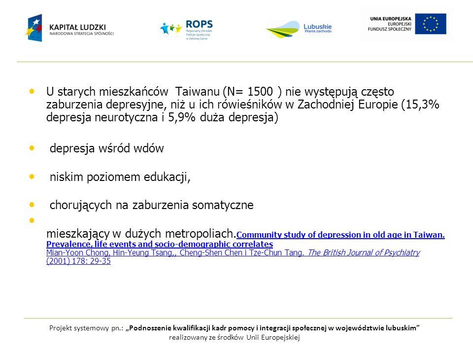 U starych mieszkańców Taiwanu (N= 1500 ) nie występują często zaburzenia depresyjne, niż u ich rówieśników w Zachodniej Europie (15,3% depresja neurot