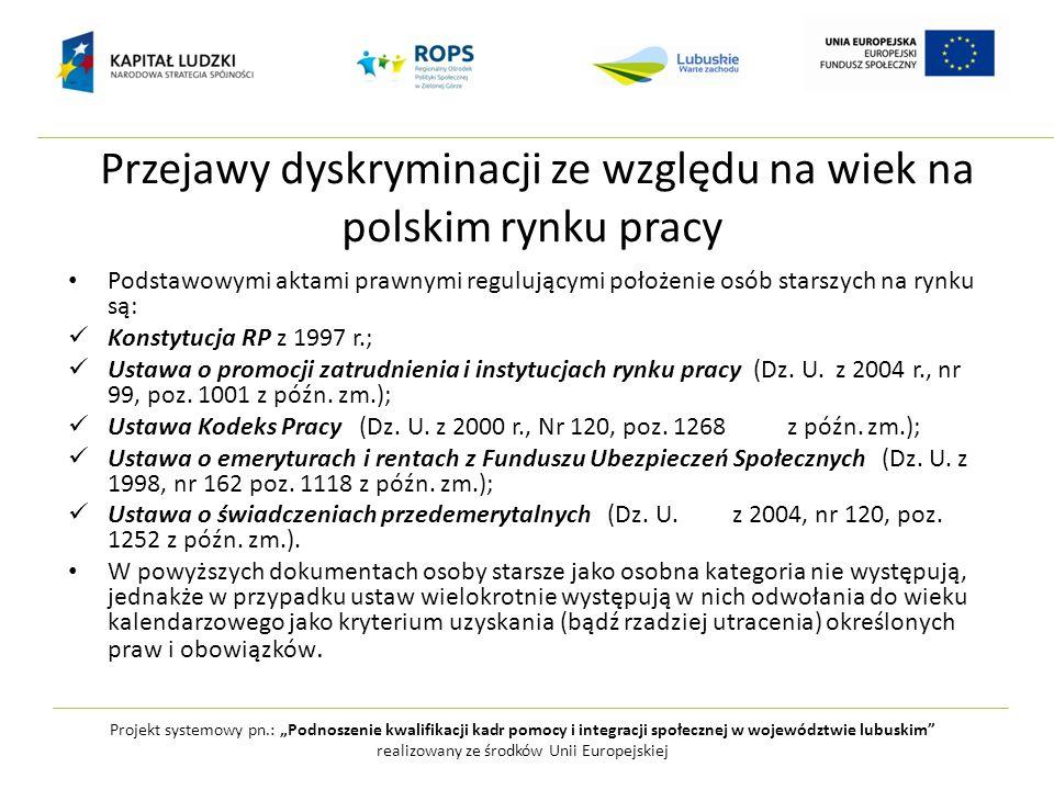 Przejawy dyskryminacji ze względu na wiek na polskim rynku pracy Podstawowymi aktami prawnymi regulującymi położenie osób starszych na rynku są: Konst