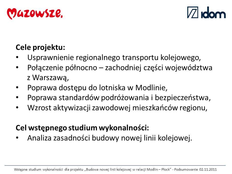 """Wstępne studium wykonalności dla projektu """"Budowa nowej linii kolejowej w relacji Modlin – Płock"""" - Podsumowanie 02.11.2011 Cele projektu: Usprawnieni"""