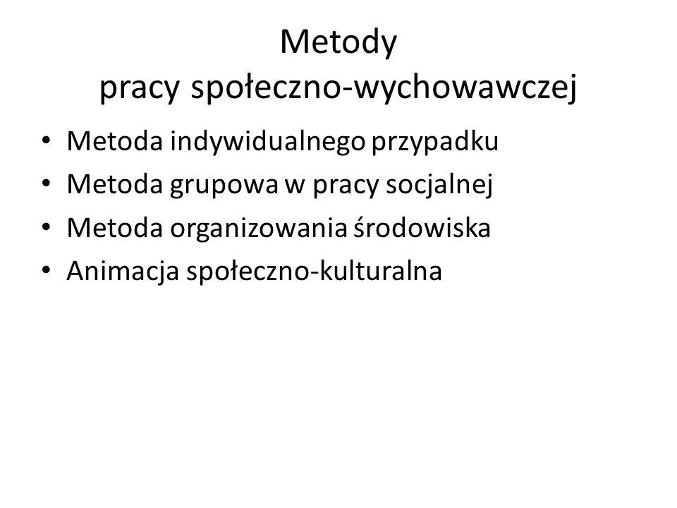Metody pracy społeczno-wychowawczej Metoda indywidualnego przypadku Metoda grupowa w pracy socjalnej Metoda organizowania środowiska Animacja społeczn