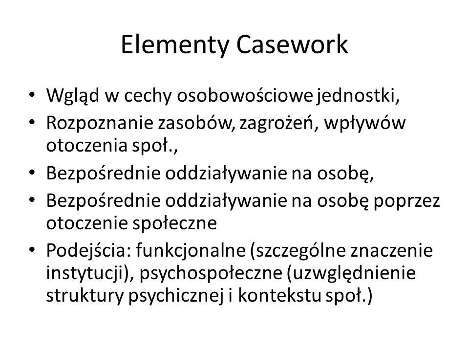 Elementy Casework Wgląd w cechy osobowościowe jednostki, Rozpoznanie zasobów, zagrożeń, wpływów otoczenia społ., Bezpośrednie oddziaływanie na osobę,