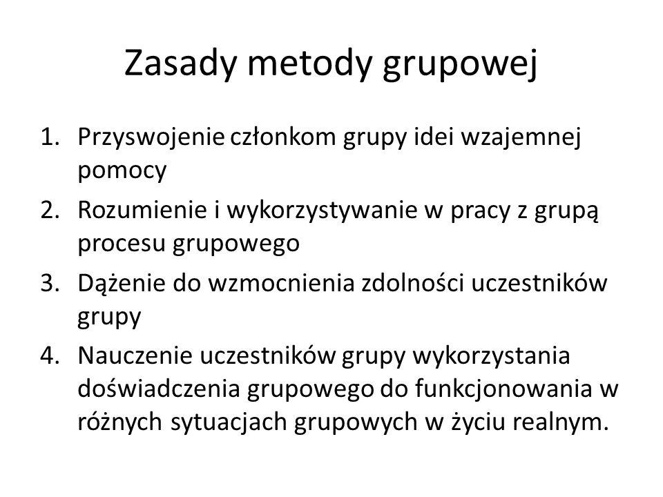 Zasady metody grupowej 1.Przyswojenie członkom grupy idei wzajemnej pomocy 2.Rozumienie i wykorzystywanie w pracy z grupą procesu grupowego 3.Dążenie