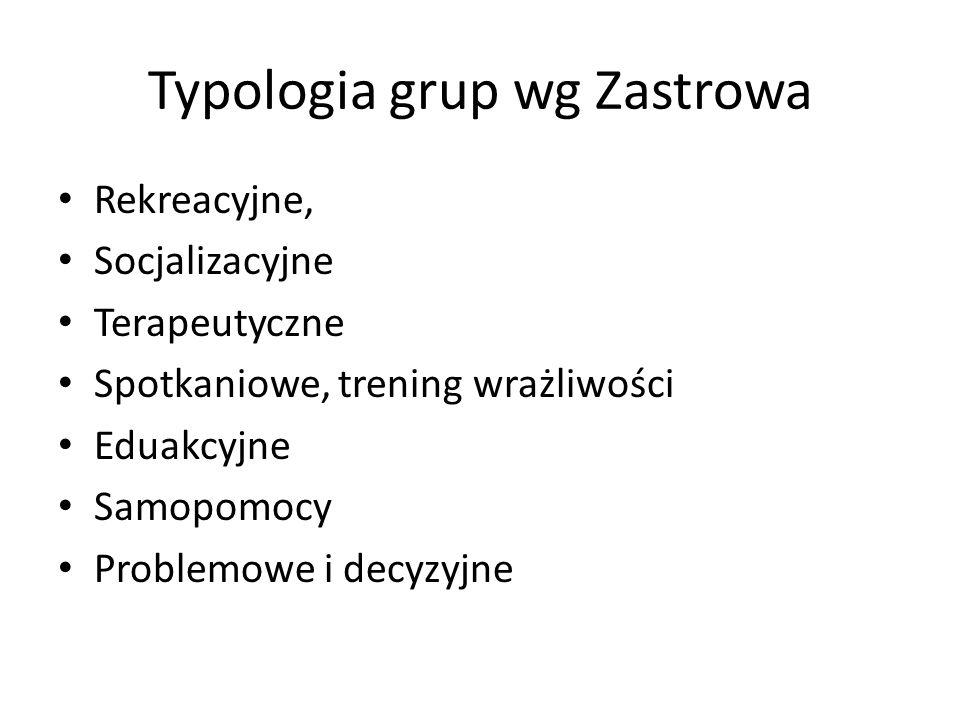Typologia grup wg Zastrowa Rekreacyjne, Socjalizacyjne Terapeutyczne Spotkaniowe, trening wrażliwości Eduakcyjne Samopomocy Problemowe i decyzyjne