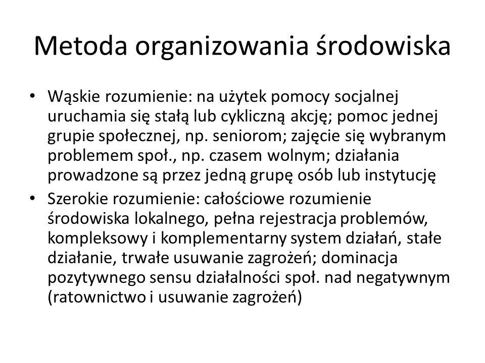 Metoda organizowania środowiska Wąskie rozumienie: na użytek pomocy socjalnej uruchamia się stałą lub cykliczną akcję; pomoc jednej grupie społecznej,