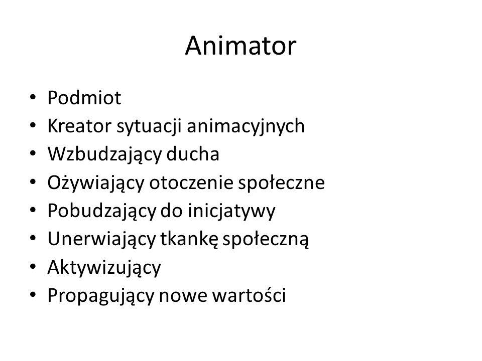 Animator Podmiot Kreator sytuacji animacyjnych Wzbudzający ducha Ożywiający otoczenie społeczne Pobudzający do inicjatywy Unerwiający tkankę społeczną