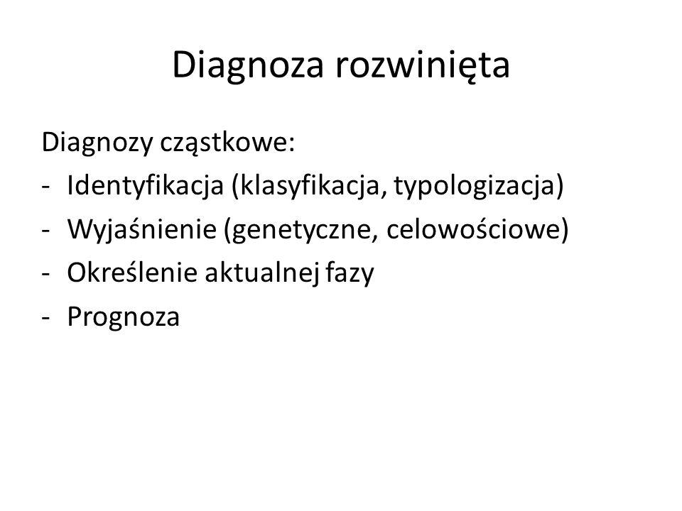 Diagnoza rozwinięta Diagnozy cząstkowe: -Identyfikacja (klasyfikacja, typologizacja) -Wyjaśnienie (genetyczne, celowościowe) -Określenie aktualnej faz