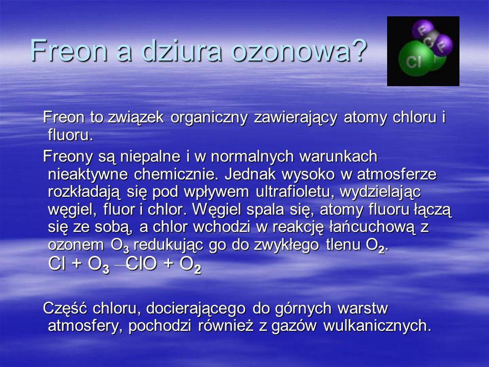 Co to jest dziura ozonowa? Dziura ozonowa to zjawisko ubytku ozonu w ozonosferze, wywołane zanieczyszczeniem atmosfery związkami reagującymi z ozonem.