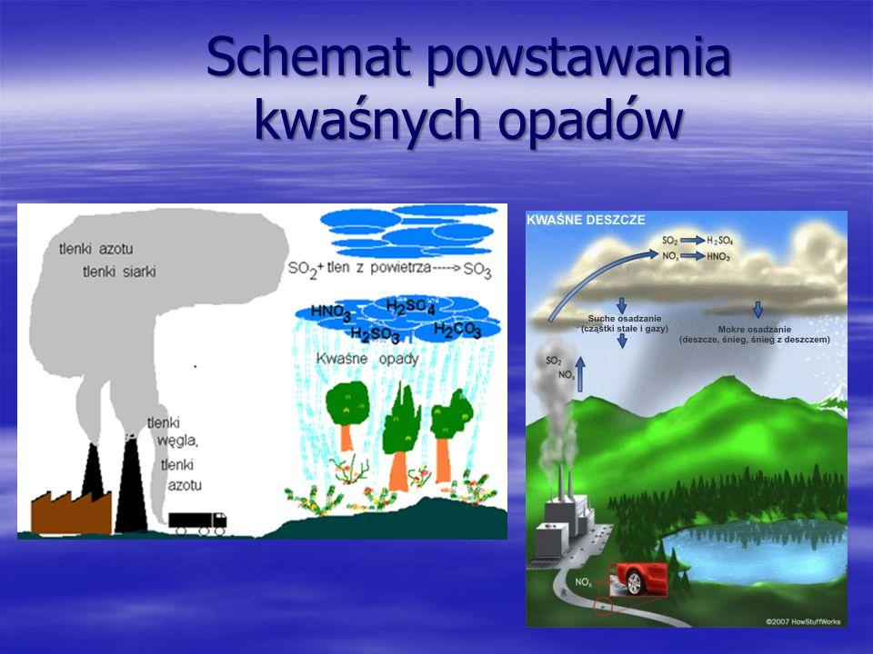 Kwaśne deszcze Są to opady atmosferyczne o odczynie kwaśnym. o odczynie kwaśnym. Zawierają kwasy wytworzone w reakcji wody z pochłoniętymi z powietrza