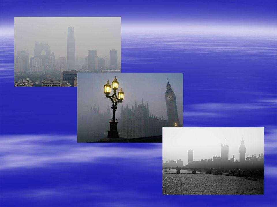 2) smog typu londyńskiego (kwaśny,