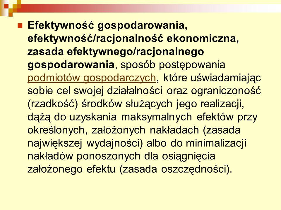 Efektywność gospodarowania, efektywność/racjonalność ekonomiczna, zasada efektywnego/racjonalnego gospodarowania, sposób postępowania podmiotów gospod