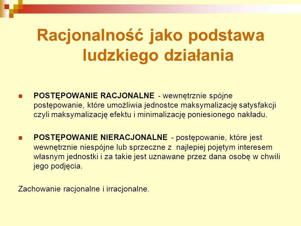 Racjonalność jako podstawa ludzkiego działania POSTĘPOWANIE RACJONALNE - wewnętrznie spójne postępowanie, które umożliwia jednostce maksymalizację sat