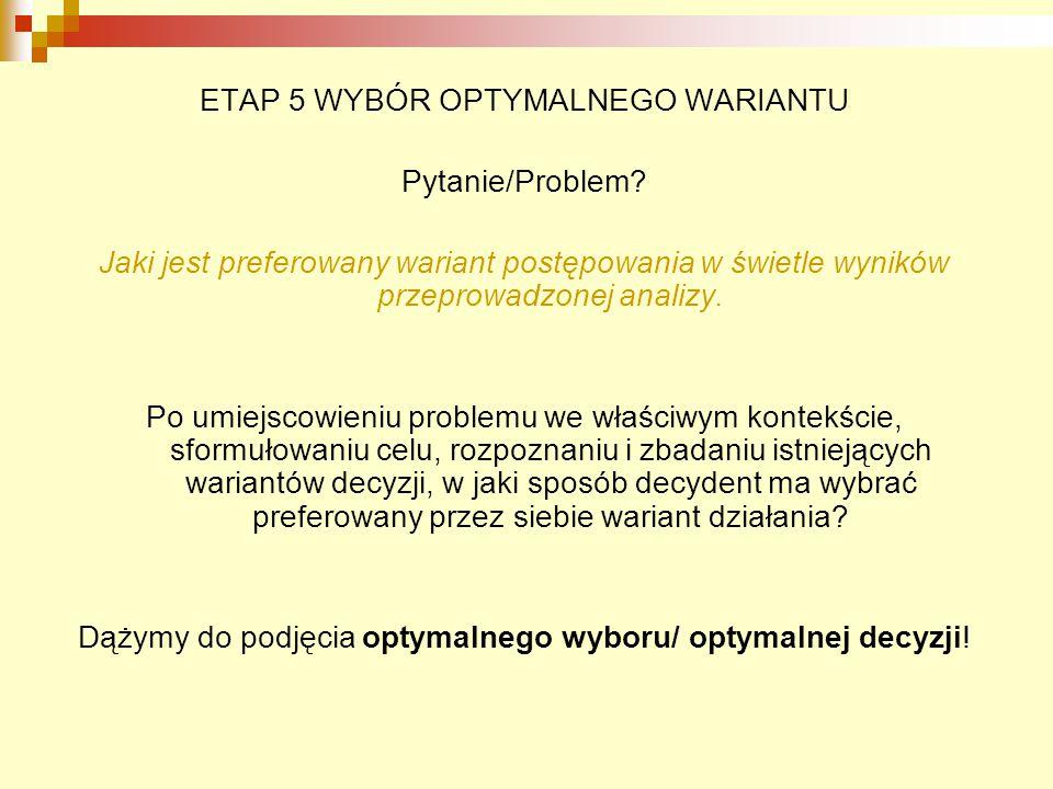 ETAP 5 WYBÓR OPTYMALNEGO WARIANTU Pytanie/Problem? Jaki jest preferowany wariant postępowania w świetle wyników przeprowadzonej analizy. Po umiejscowi