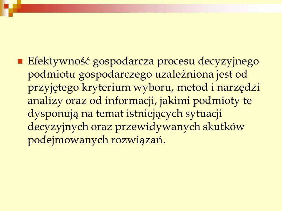 Efektywność gospodarcza procesu decyzyjnego podmiotu gospodarczego uzależniona jest od przyjętego kryterium wyboru, metod i narzędzi analizy oraz od i