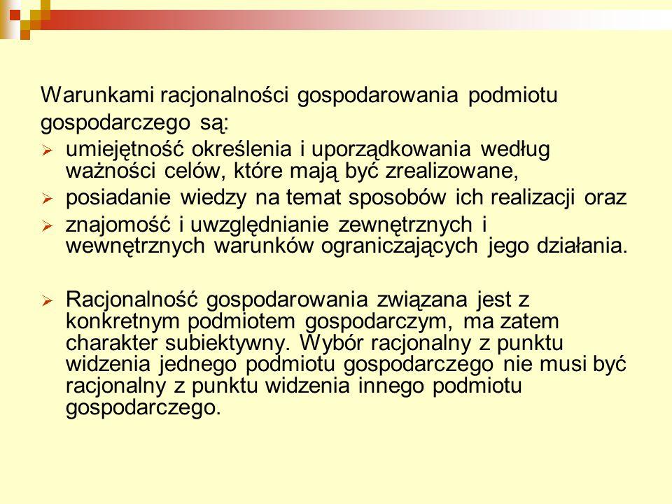 Warunkami racjonalności gospodarowania podmiotu gospodarczego są:  umiejętność określenia i uporządkowania według ważności celów, które mają być zrea