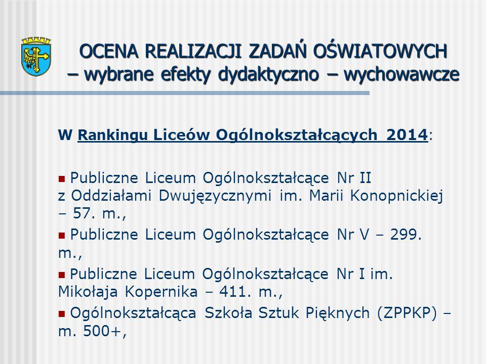 OCENA REALIZACJI ZADAŃ OŚWIATOWYCH – wybrane efekty dydaktyczno – wychowawcze W Rankingu Liceów Ogólnokształcących 2014 : Publiczne Liceum Ogólnokształcące Nr II z Oddziałami Dwujęzycznymi im.