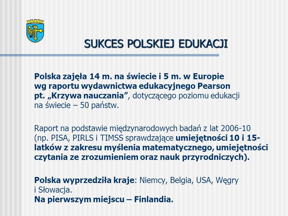 SUKCES POLSKIEJ EDUKACJI Polska zajęła 14 m. na świecie i 5 m.