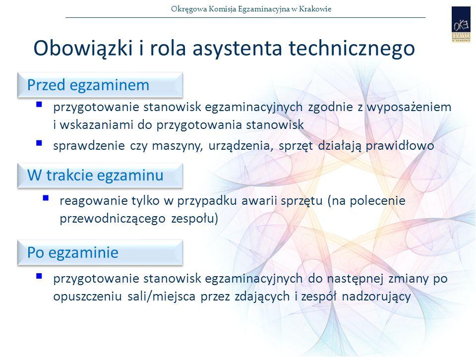 Okręgowa Komisja Egzaminacyjna w Krakowie Obowiązki i rola asystenta technicznego  przygotowanie stanowisk egzaminacyjnych zgodnie z wyposażeniem i wskazaniami do przygotowania stanowisk  sprawdzenie czy maszyny, urządzenia, sprzęt działają prawidłowo  reagowanie tylko w przypadku awarii sprzętu (na polecenie przewodniczącego zespołu) Przed egzaminem W trakcie egzaminu Po egzaminie  przygotowanie stanowisk egzaminacyjnych do następnej zmiany po opuszczeniu sali/miejsca przez zdających i zespół nadzorujący