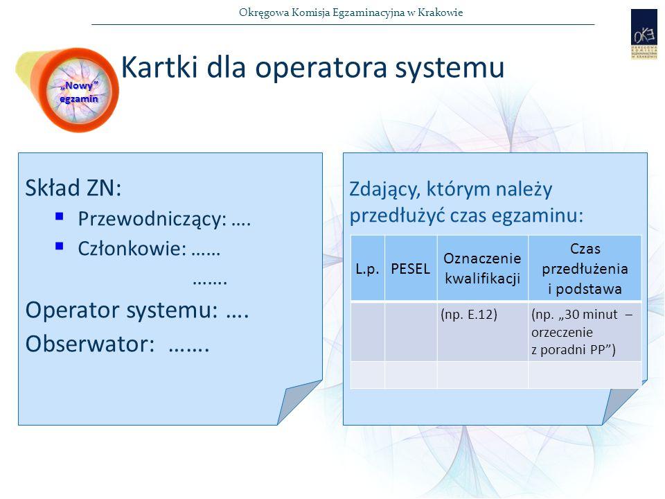 Okręgowa Komisja Egzaminacyjna w Krakowie Kartki dla operatora systemu Skład ZN:  Przewodniczący: ….