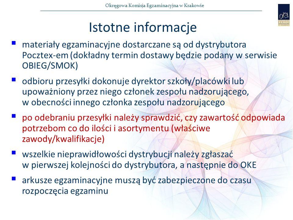 Okręgowa Komisja Egzaminacyjna w Krakowie  materiały egzaminacyjne dostarczane są od dystrybutora Pocztex-em (dokładny termin dostawy będzie podany w serwisie OBIEG/SMOK)  odbioru przesyłki dokonuje dyrektor szkoły/placówki lub upoważniony przez niego członek zespołu nadzorującego, w obecności innego członka zespołu nadzorującego  po odebraniu przesyłki należy sprawdzić, czy zawartość odpowiada potrzebom co do ilości i asortymentu (właściwe zawody/kwalifikacje)  wszelkie nieprawidłowości dystrybucji należy zgłaszać w pierwszej kolejności do dystrybutora, a następnie do OKE  arkusze egzaminacyjne muszą być zabezpieczone do czasu rozpoczęcia egzaminu Istotne informacje