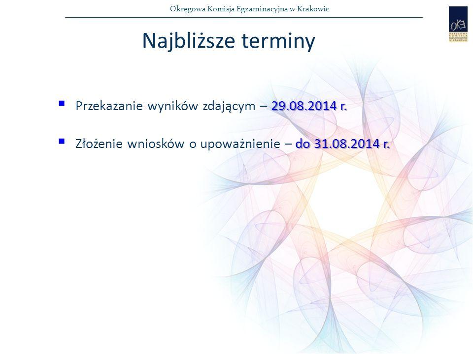 Okręgowa Komisja Egzaminacyjna w Krakowie 29.08.2014 r.