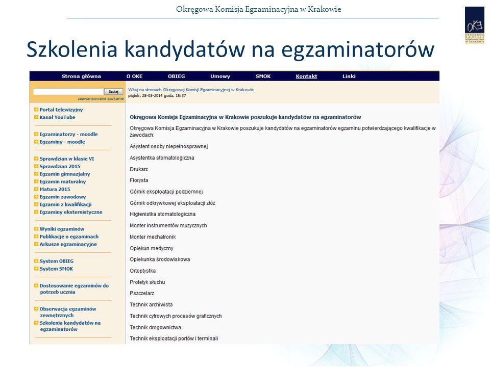 Okręgowa Komisja Egzaminacyjna w Krakowie Szkolenia kandydatów na egzaminatorów