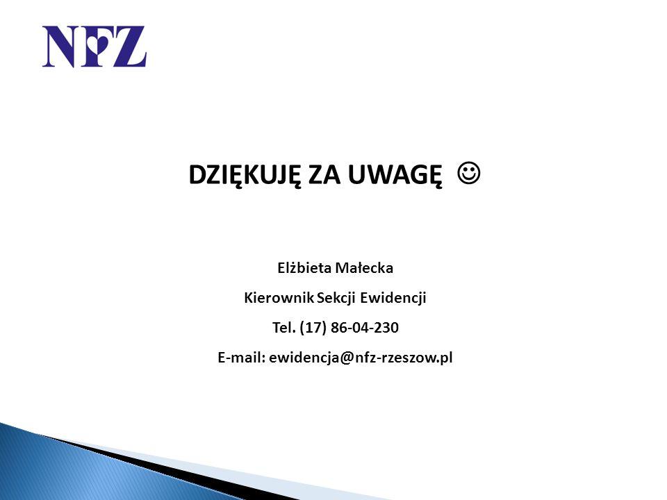 DZIĘKUJĘ ZA UWAGĘ Elżbieta Małecka Kierownik Sekcji Ewidencji Tel.
