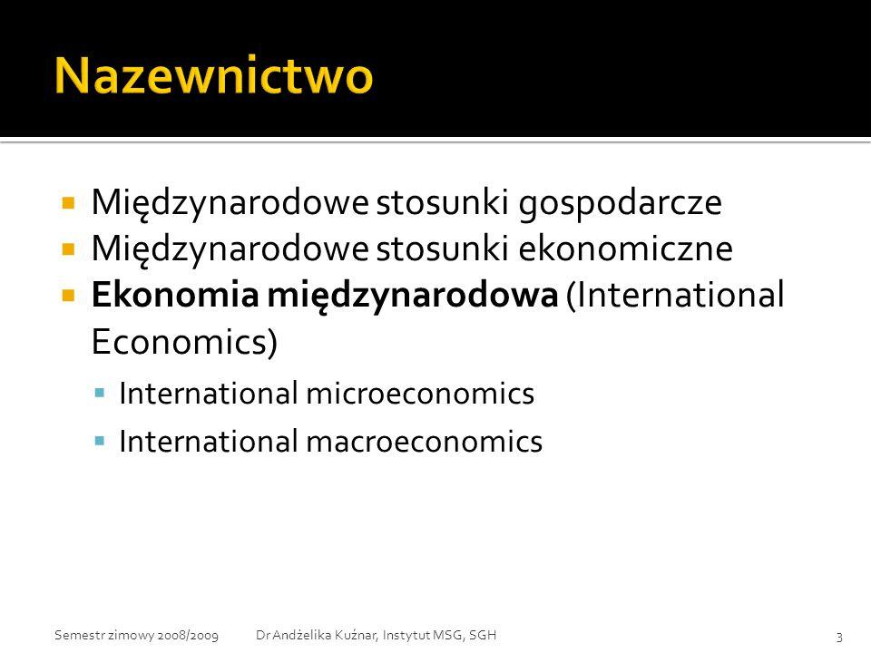 Wyodrębnienie MSG z ekonomii z powodu:  Różnic między stosunkami ekonomicznymi prowadzonymi w ramach jednego kraju i w skali międzynarodowej.