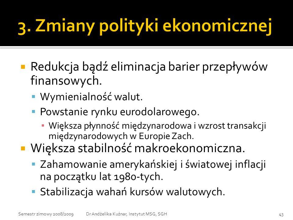  Redukcja bądź eliminacja barier przepływów finansowych.  Wymienialność walut.  Powstanie rynku eurodolarowego. ▪ Większa płynność międzynarodowa i