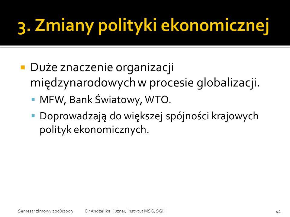  Duże znaczenie organizacji międzynarodowych w procesie globalizacji.  MFW, Bank Światowy, WTO.  Doprowadzają do większej spójności krajowych polit
