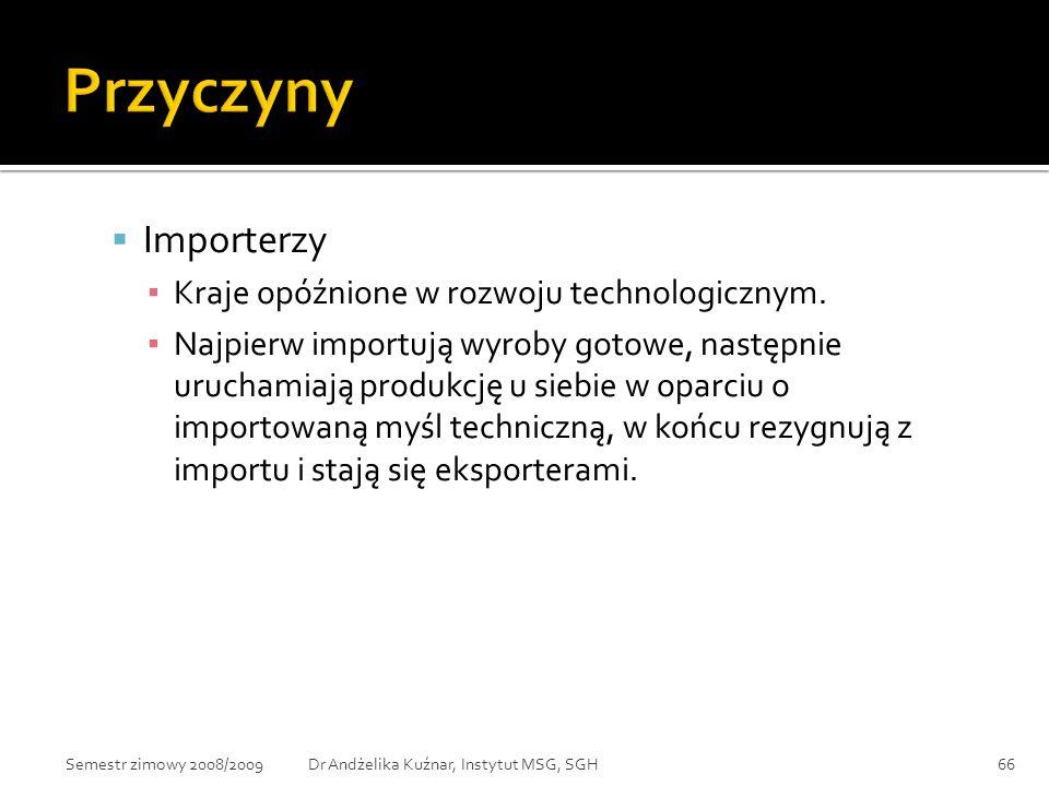  Importerzy ▪ Kraje opóźnione w rozwoju technologicznym. ▪ Najpierw importują wyroby gotowe, następnie uruchamiają produkcję u siebie w oparciu o imp