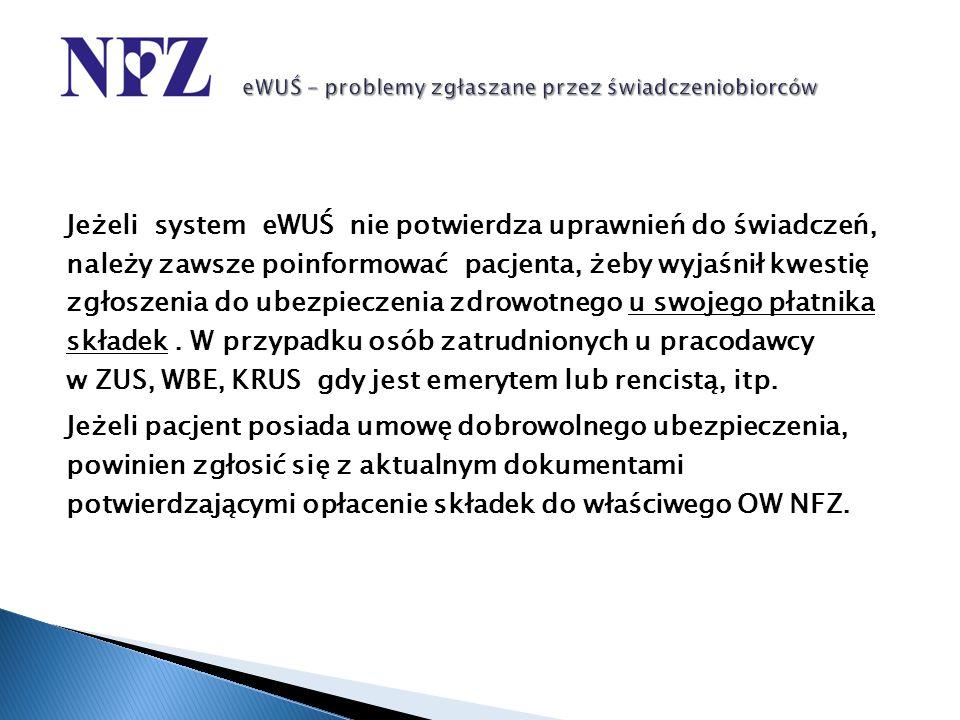Jeżeli system eWUŚ nie potwierdza uprawnień do świadczeń, należy zawsze poinformować pacjenta, żeby wyjaśnił kwestię zgłoszenia do ubezpieczenia zdrow