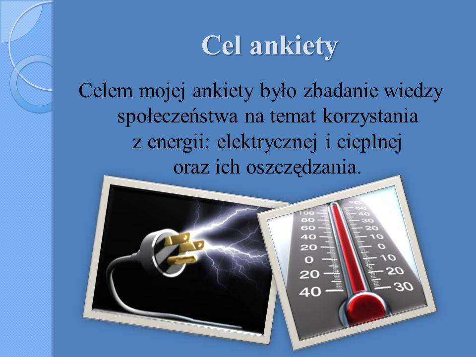 Cel ankiety Celem mojej ankiety było zbadanie wiedzy społeczeństwa na temat korzystania z energii: elektrycznej i cieplnej oraz ich oszczędzania.