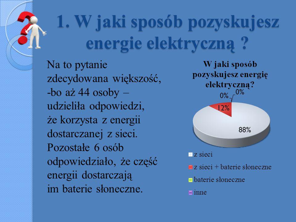 1. W jaki sposób pozyskujesz energie elektryczną ? Na to pytanie zdecydowana większość, -bo aż 44 osoby – udzieliła odpowiedzi, że korzysta z energii