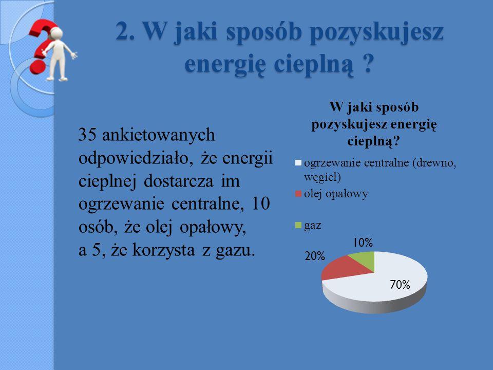 2. W jaki sposób pozyskujesz energię cieplną ? 35 ankietowanych odpowiedziało, że energii cieplnej dostarcza im ogrzewanie centralne, 10 osób, że olej
