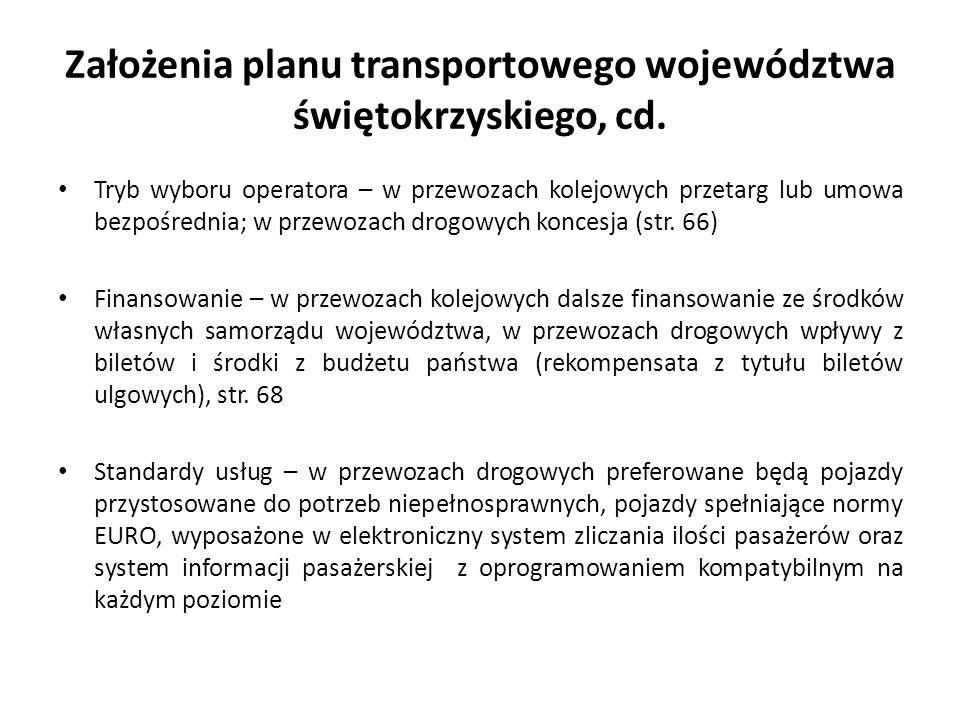 Założenia planu transportowego województwa świętokrzyskiego, cd. Tryb wyboru operatora – w przewozach kolejowych przetarg lub umowa bezpośrednia; w pr