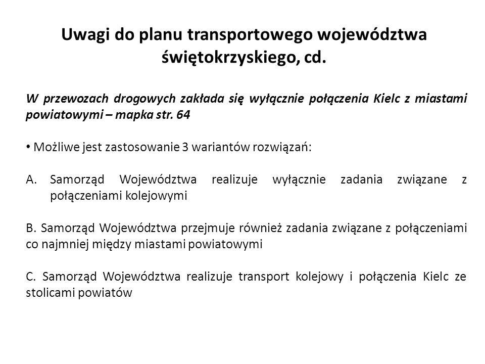 Uwagi do planu transportowego województwa świętokrzyskiego, cd. W przewozach drogowych zakłada się wyłącznie połączenia Kielc z miastami powiatowymi –