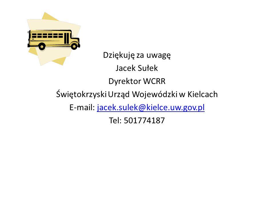 Dziękuję za uwagę Jacek Sułek Dyrektor WCRR Świętokrzyski Urząd Wojewódzki w Kielcach E-mail: jacek.sulek@kielce.uw.gov.pljacek.sulek@kielce.uw.gov.pl