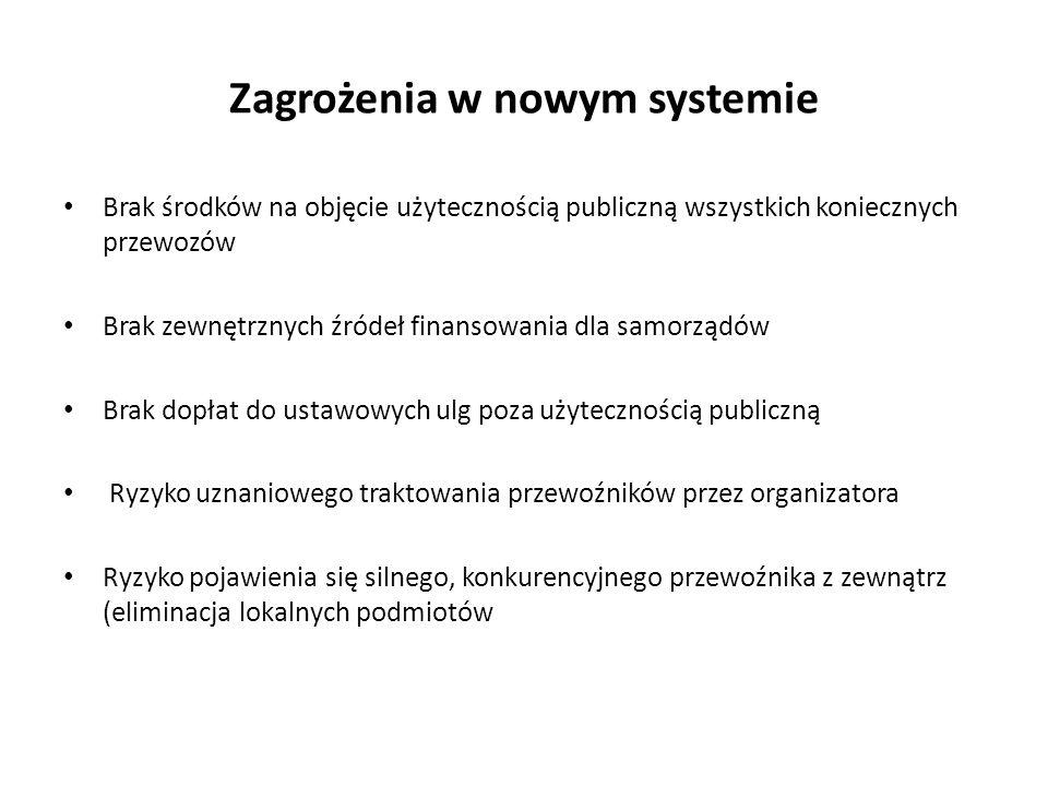 Zagrożenia w nowym systemie Brak środków na objęcie użytecznością publiczną wszystkich koniecznych przewozów Brak zewnętrznych źródeł finansowania dla