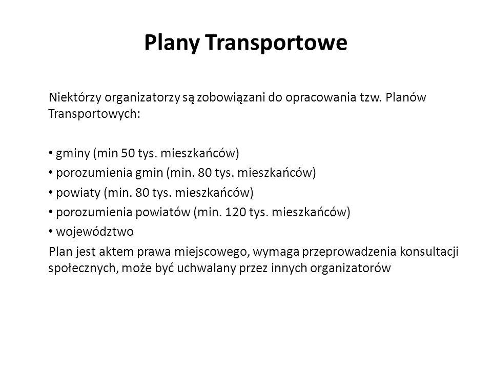 Plany Transportowe Niektórzy organizatorzy są zobowiązani do opracowania tzw. Planów Transportowych: gminy (min 50 tys. mieszkańców) porozumienia gmin